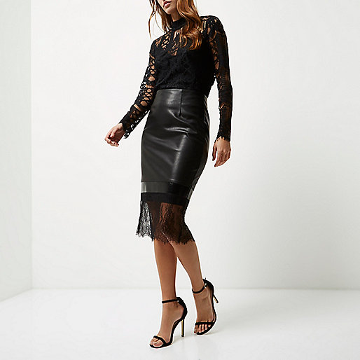 balck-lace-and-leather-skirt-with-lace-black-top-river-island