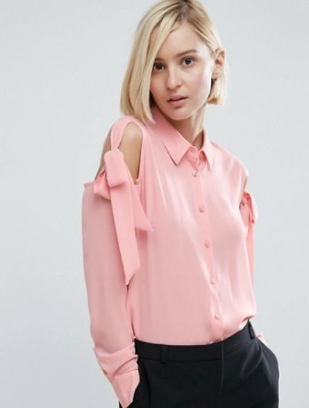 Asos blouse with tie cold shoulder