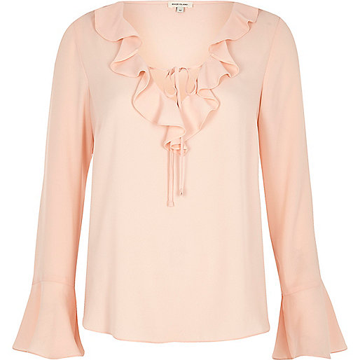 light pink fill v nexk blouse river island
