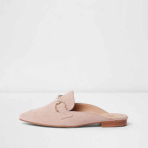 Light pink suede loafers river island