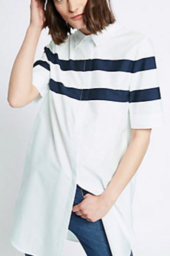 cotton longline stripped shirt marks and spencer