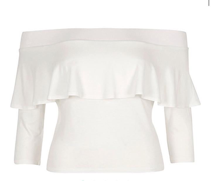 cream bardot top